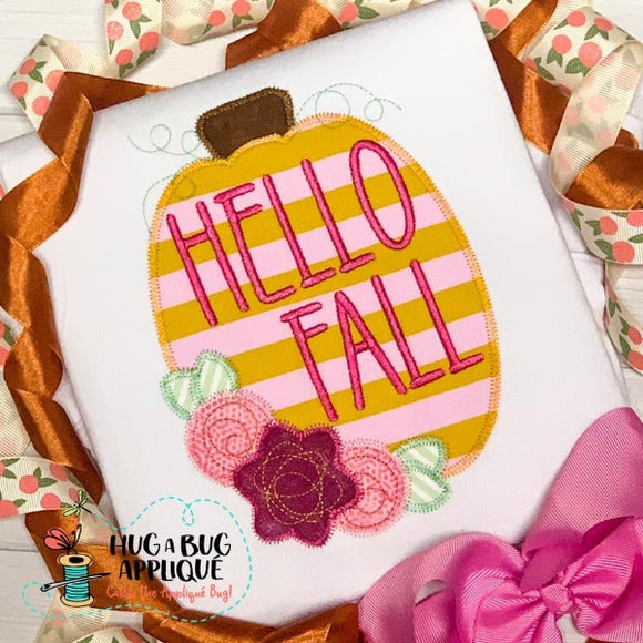 Hello Fall Pumpkin Zig Zag Stitch Applique Design, Applique