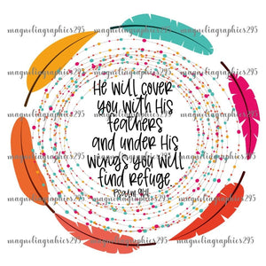 He will cover you with his feathers Printable Design PNG, Printable
