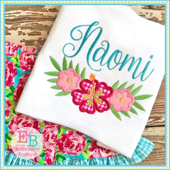 Hibiscus Swag Applique - Embroidery Boutique