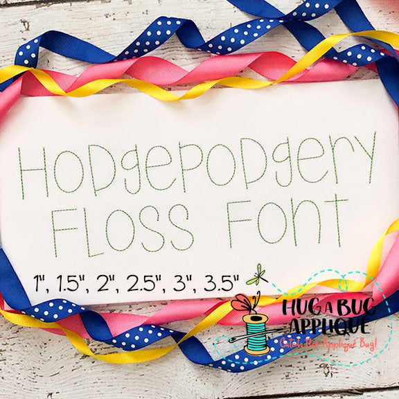 Hodgepodgery Floss Stitch Embroidery Font