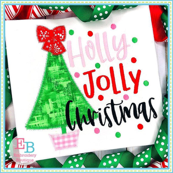 Holly Jolly Christmas Applique, Applique