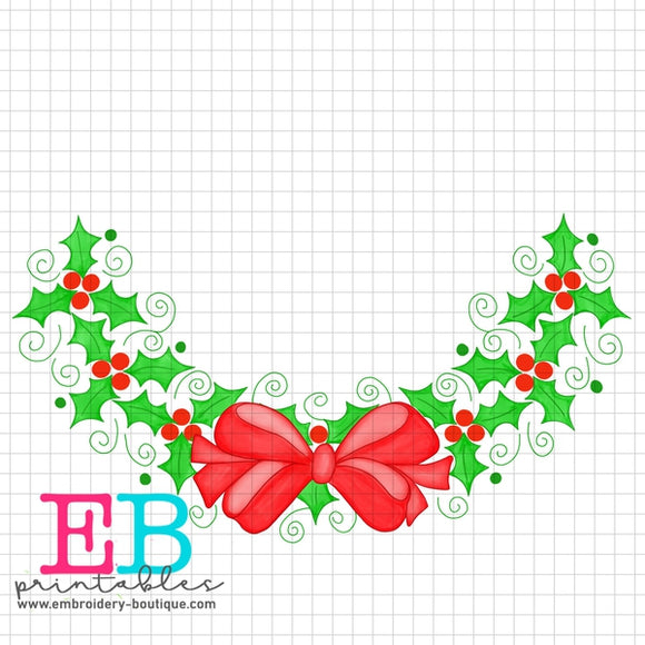 Holly Bow Frame Printable Design PNG - embroidery-boutique