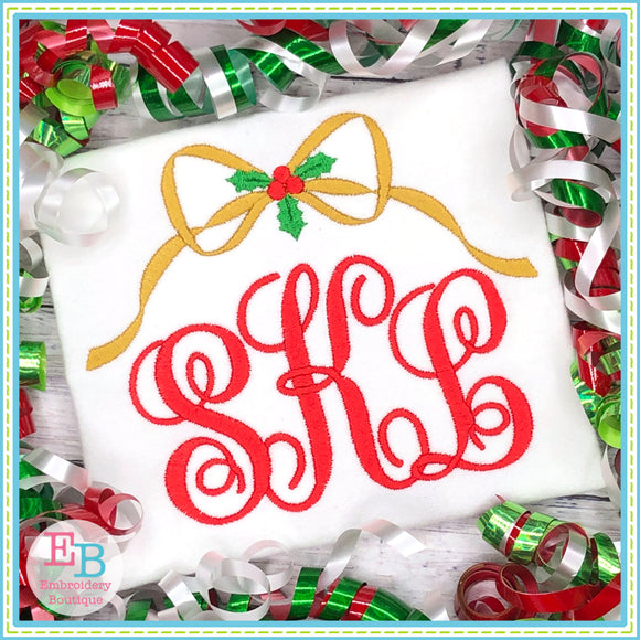 Holly Bow Monogram Frame Embroidery Design, Embroidery