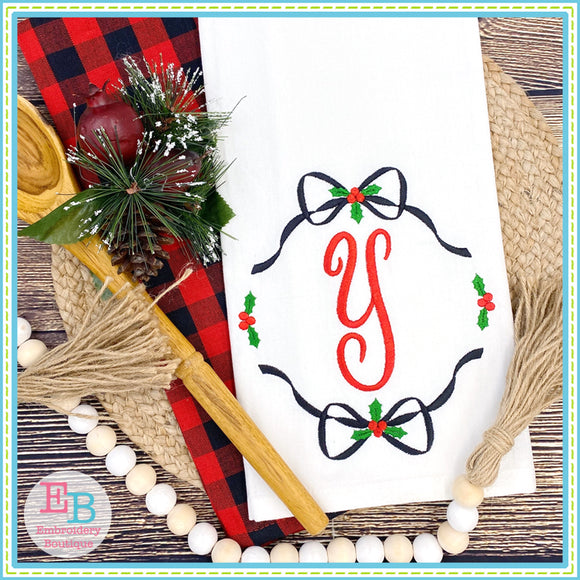 Holly Double Bow Monogram Frame Embroidery Design, Embroidery