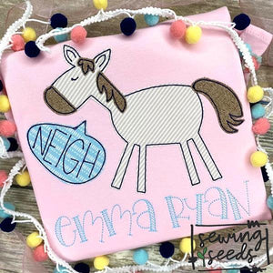 Horse with Neigh Word Bubble Applique SS, Applique