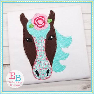 Horse Rose Blanket Stitch Applique, Applique