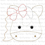 Horse Bow Bean Stitch Applique Design, Applique