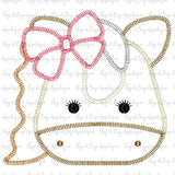 Horse Bow Zig Zag Stitch Applique Design, Applique