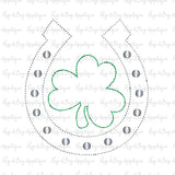 Horseshoe Clover Bean Stitch Applique Design, Applique