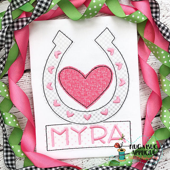 Horseshoe Heart Bean Stitch Applique Design