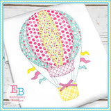 Hot Air Balloon Blanket Stitch Applique - Embroidery Boutique