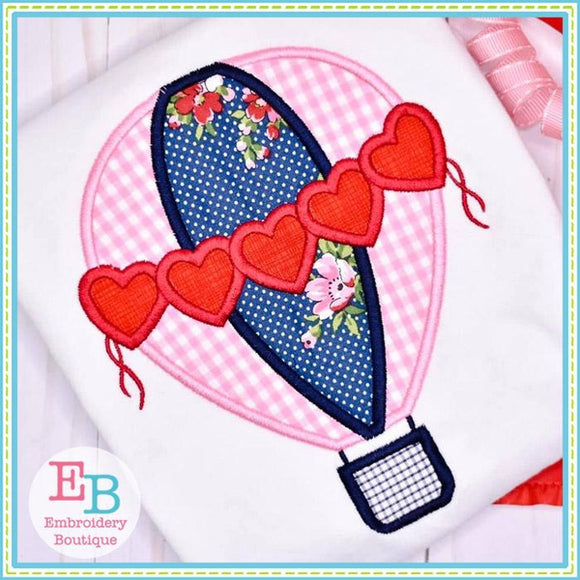 Hearts Hot Air Balloon Satin Applique, Applique
