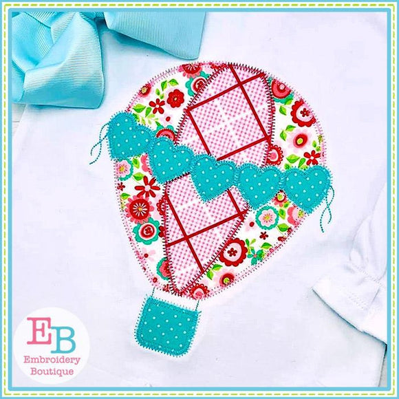 Hearts Hot Air Balloon Zigzag Applique, Applique