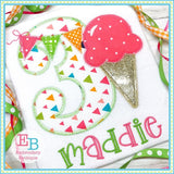 Ice Cream Applique Numbers, Applique Number Set