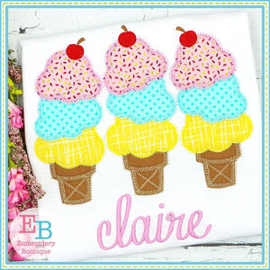 3 Ice Cream Cones Applique