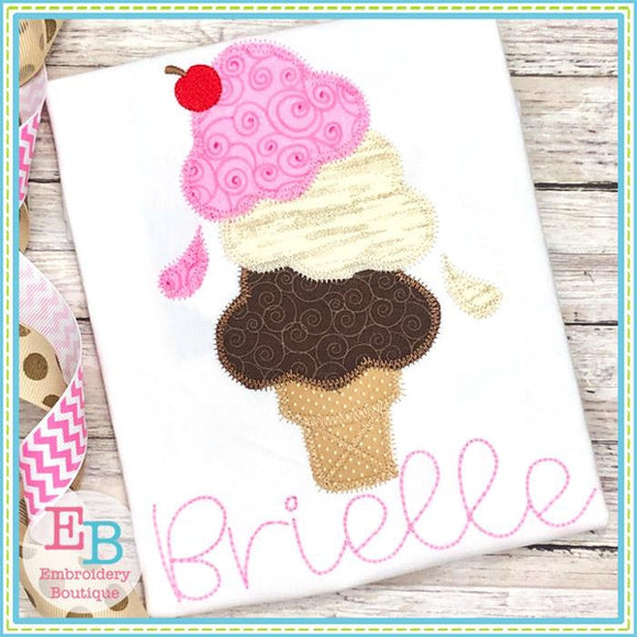 Triple Scoop Ice Cream Cone Applique