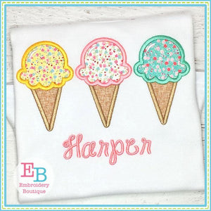 Ice Cream Cone Trio Applique, Applique