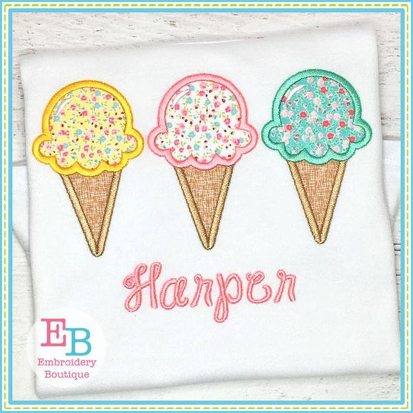 Ice Cream Cone Trio Applique - Embroidery Boutique