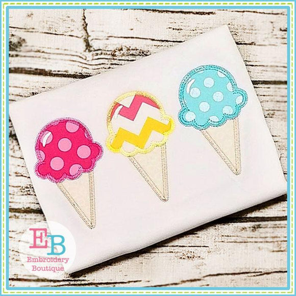 Ice Cream Cone Trio Zigzag Applique, Applique