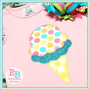 Double Dip Ice Cream Cone Zigzag Applique, Applique
