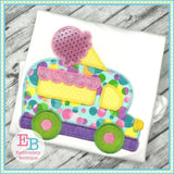 Ice Cream Truck Zigzag Applique, Applique