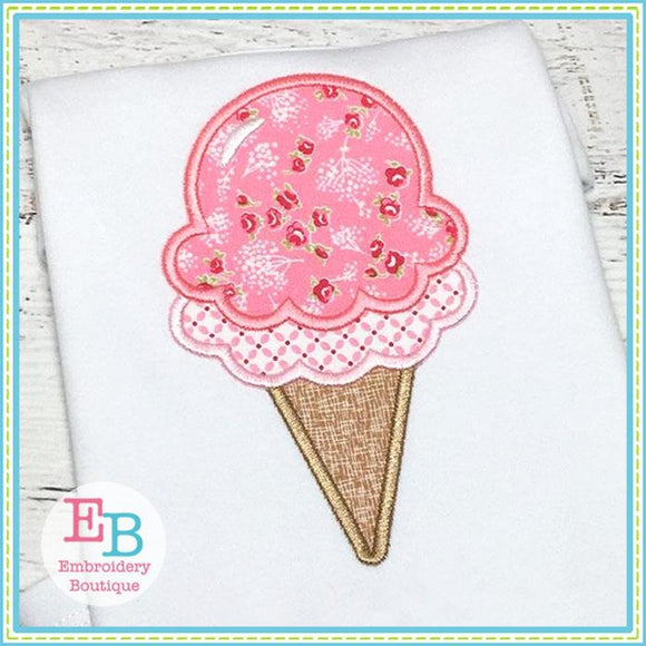 Double Dip Ice Cream Cone Applique - Embroidery Boutique