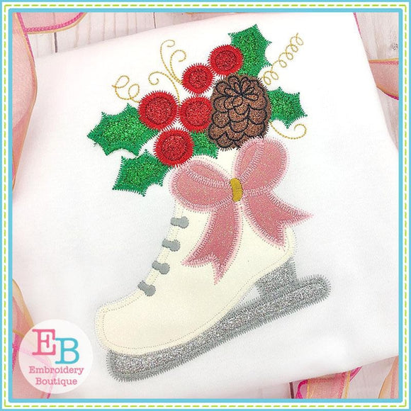 Ice Skate Bow Applique