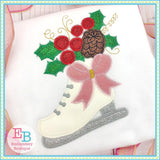 Ice Skate Bow Applique, Applique