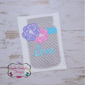 Love Mason Jar Applique Design - embroidery-boutique