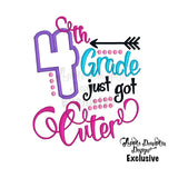 4th Grade Just Got Cuter Applique Design, applique