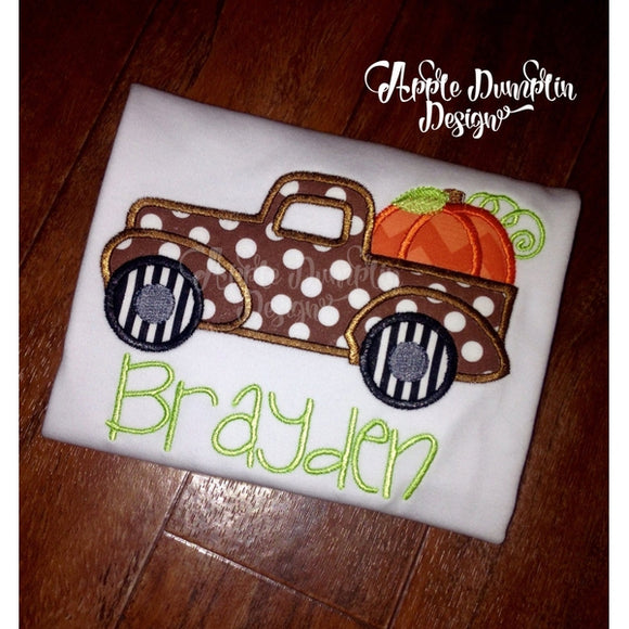 Vintage Truck with Pumpkin Applique Design - embroidery-boutique