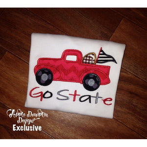 Football Vintage Truck Applique Design - embroidery-boutique