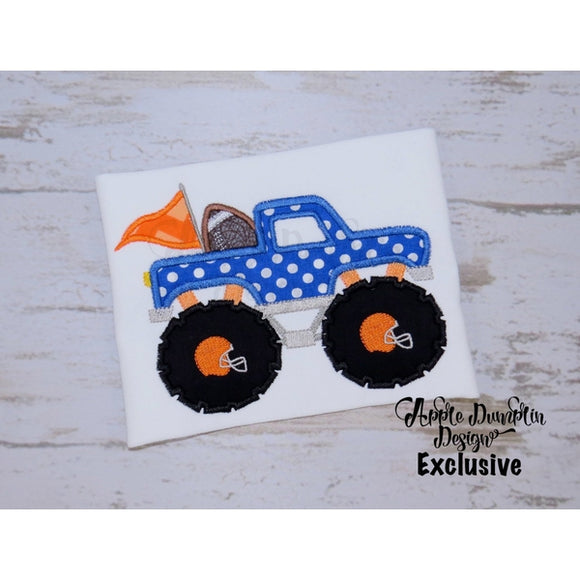 Football Monster Truck Applique Design, applique