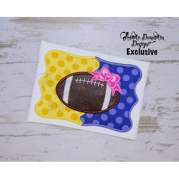 Football with Bow House Divided Applique Design, applique