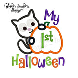 My 1st Halloween Cat with Pumpkin Applique Design - embroidery-boutique