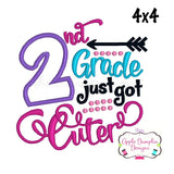 2nd Grade Just Got Cuter Applique Design - embroidery-boutique