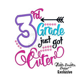 3rd Grade Just Got Cuter Applique Design - Embroidery Boutique