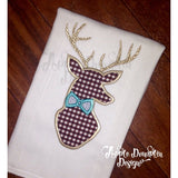 Deer with Bowtie Applique Design - embroidery-boutique