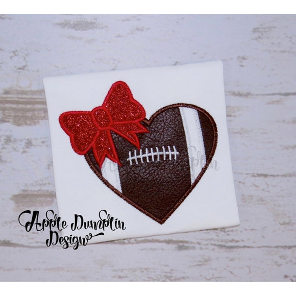 Football Heart with Bow Applique Design - embroidery-boutique