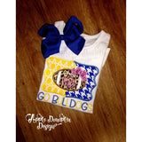 Football with Bow House Divided Applique Design - Embroidery Boutique