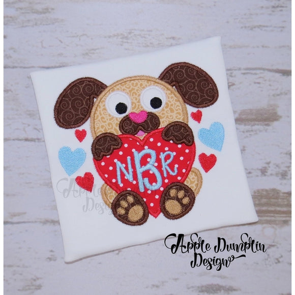 Puppy with Heart Applique Design - embroidery-boutique