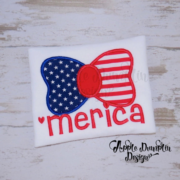 Merica' Bow Applique Design - embroidery-boutique