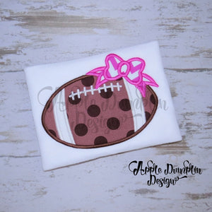 Football with Bow Applique Design - Embroidery Boutique