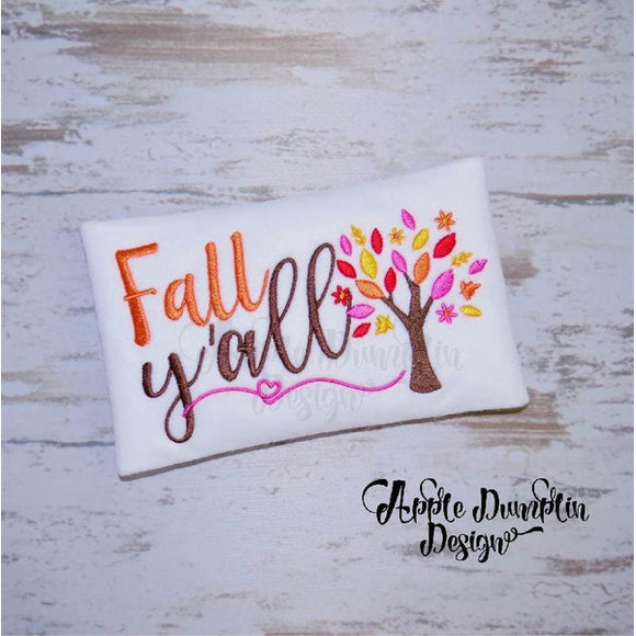 Fall Y'all Embroidery Design, applique
