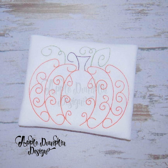 Swirl Pumpkin, Bean Stitch, Embroidery Design - embroidery-boutique