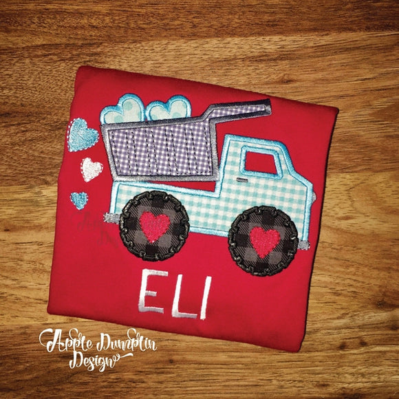 Valentine Dump Truck Applique Design - embroidery-boutique