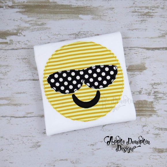 Emoji with Shades, Bean Stitch, Applique Design - Embroidery Boutique