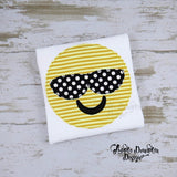 Emoji with Shades, Bean Stitch, Applique Design, applique