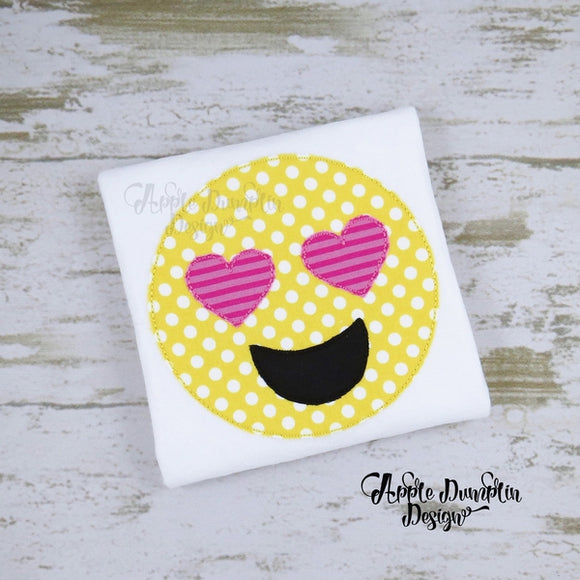 Emoji Heart Eyes Bean Stitch Applique Design - embroidery-boutique