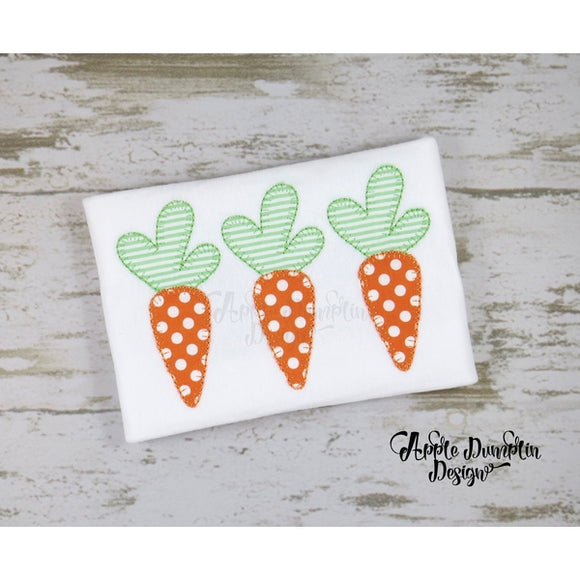 Easter Carrot Trio Blanket Stitch Applique Design, applique